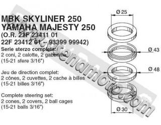 Ремкомплект вилки (переднего амортизатра) Yamaha Majesty, Mbk Skyliner 250 от Buzzetti 3994